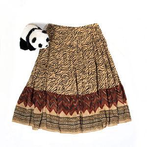 Brown J. Crew safari print full length skirt